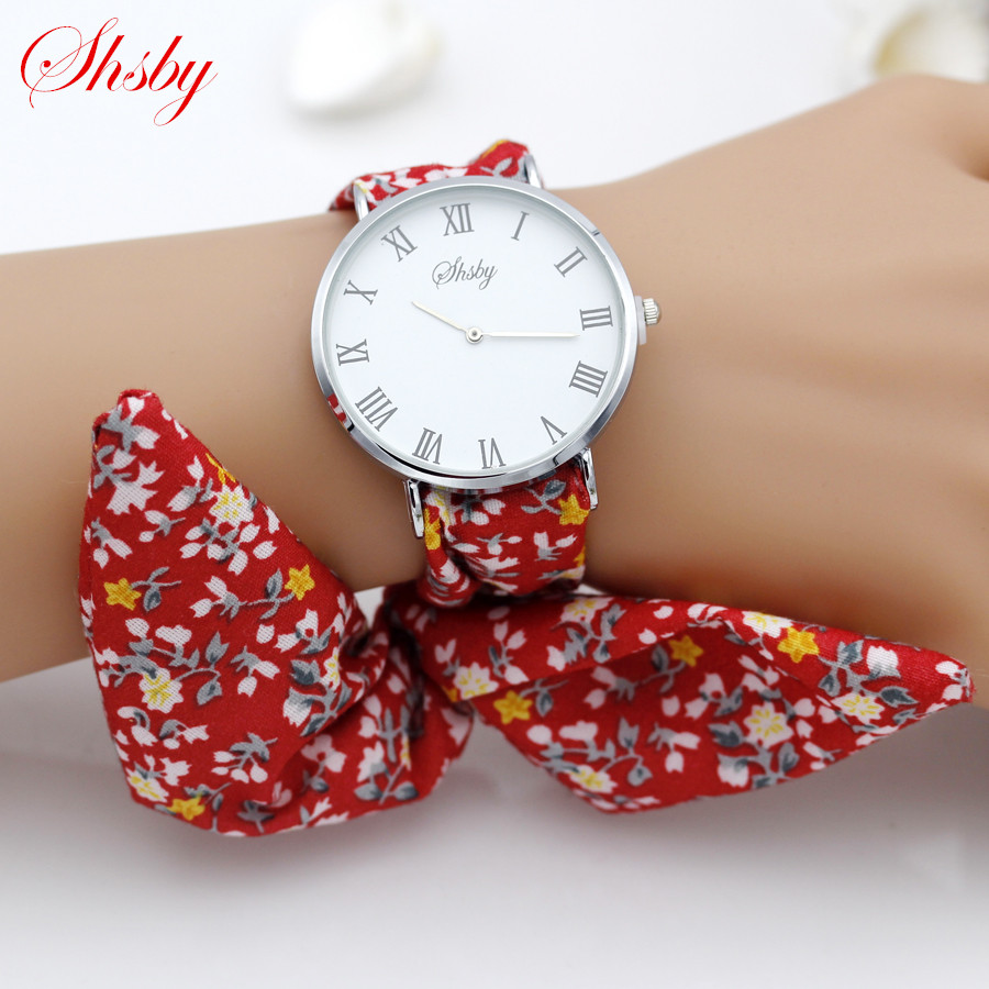 Shsby Brand New Lady Flower Cloth Wristwatch Roman Silver Women Dress Watch High Quality Fabric Watch Sweet Girls Bracelet Watch