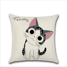 Flax fabric  pillow case christmas 45x45cm cat cover Cartoon animal bolster