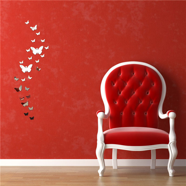 Factory Price! Silver Bling Bling Acrylic 3D Butterfly Design Mirror Effect Wall Sticker DIY For Artistic Living Room