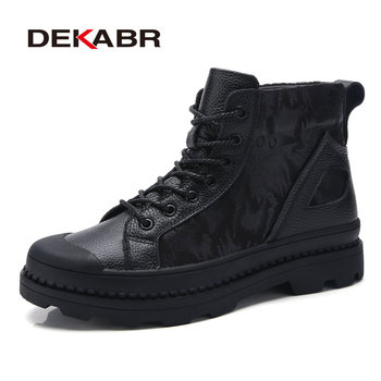 DEKABR 2019 New High Quality Men Black Boots Fashion Genuine Leather Luxury Brand Snow Ankle Boots Winter Motorcycle Boots Men