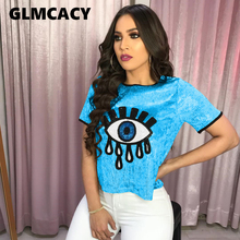 Women Sequined Spliced Fashion T Shirts Ladies O Neck Short Sleeve Shiny Tops Summer High Street Eye Print Casual Tops