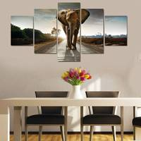 Modern Home Decor Picture 5 Piece Home Wall Art Canvas Painting Elephant Animals Modular Pictures Unframed) dropshipping