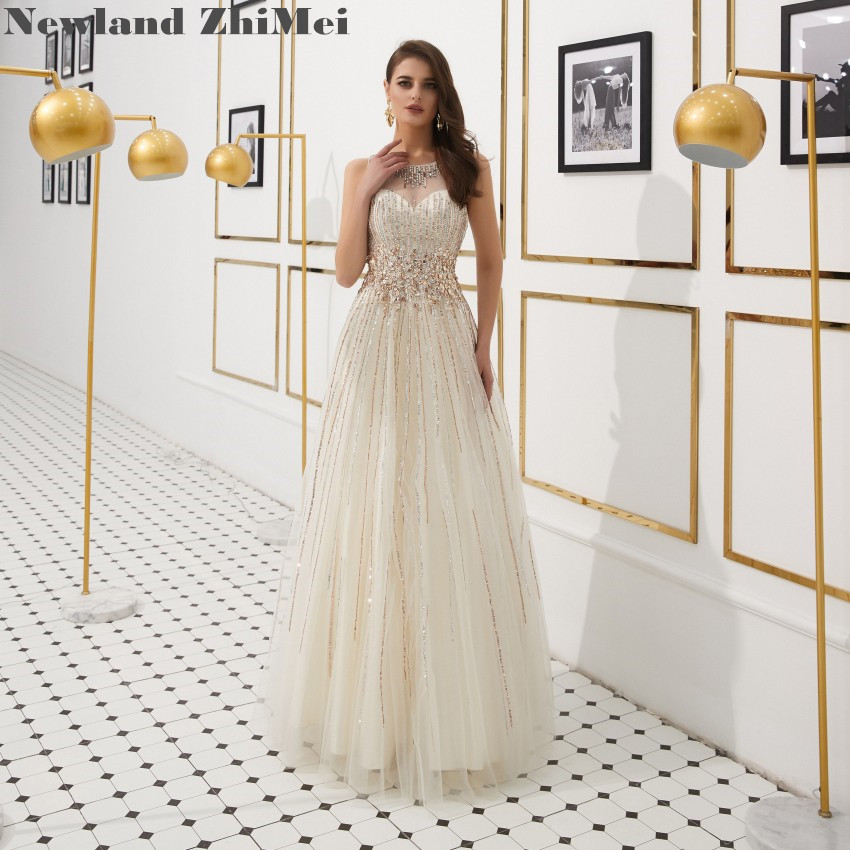 Gorgeous Sequin Crystal   Prom     Dress   Elegant See Through A Line Tulle Woman Formal   Dresses   Hot Sale