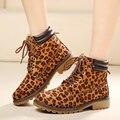 2016 Leopardo de La Manera Mujeres Botas Otoño Invierno zapatos de la bota del tobillo de las mujeres zapatos de martin Botas de nieve