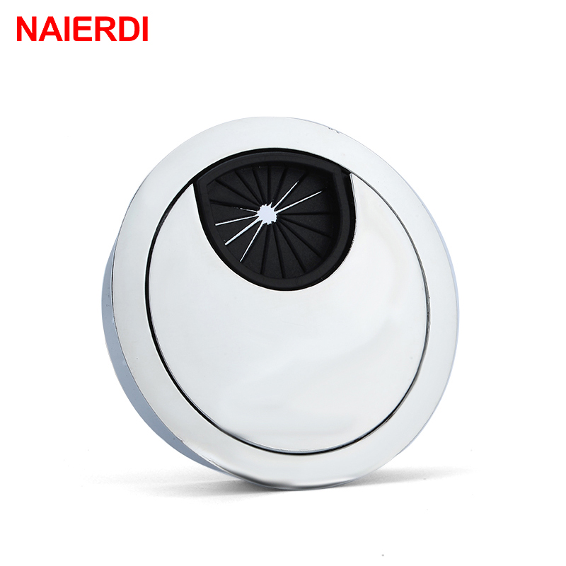 NAIERDI Zinc Alloy 50mm Base Computer Desk Grommet Table Cable Outlet Port Surface Wire Hole Cover Line Box Furniture Hardware tfbc black 60mm round grommet cable hole cover for computer desk 5 pcs