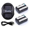 Probty 2 unids baterías + cargador doble USB NP-FM50 NP FM50h recargable batería de la cámara para Sony NP-FM51 NP-QM50 NP-FM30 NP-FM55H