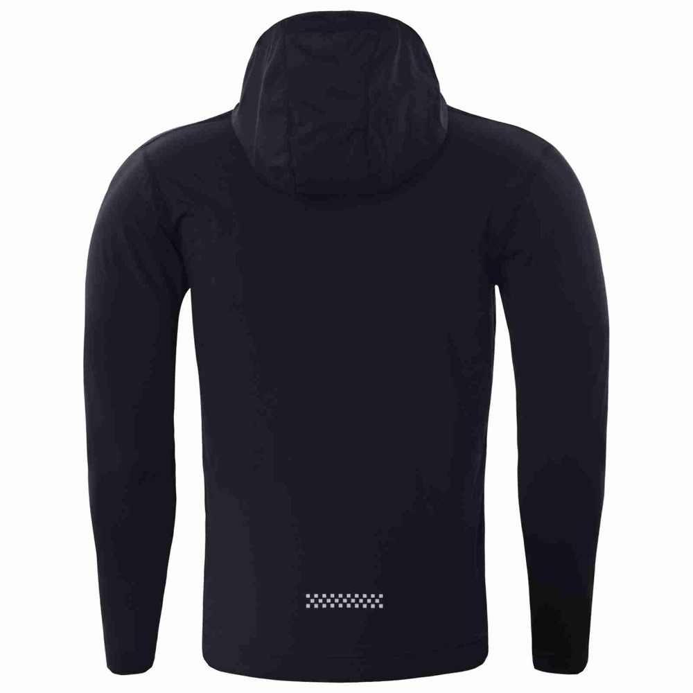 スポーツジャケット男性の秋と冬の黒ストレッチ速乾性のフィットネス服トレーニング屋外ジッパーフード付き汗スーツ