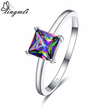 lingmei Wedding Solitaire Style Bride  Cocktail Exquisite Jewelry Gifts Blue & Multicolor Zircon Silver 925 Ring Size 6 7 8 9