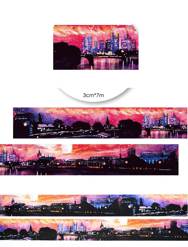 все цены на  1Roll=30mmx7m High Quality City Pattern Japanese Washi Decorative Adhesive Tape DIY Masking Paper Tape Label Sticker For Gift  онлайн