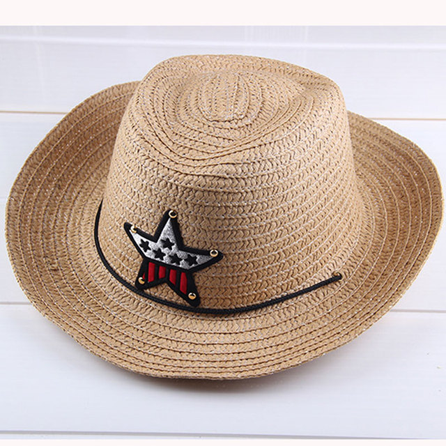 Verano otoño 54 cm niños CAPS cowgirls Sombreros de vaquero para niños  patrón de estrellas paja 3891f7f880f