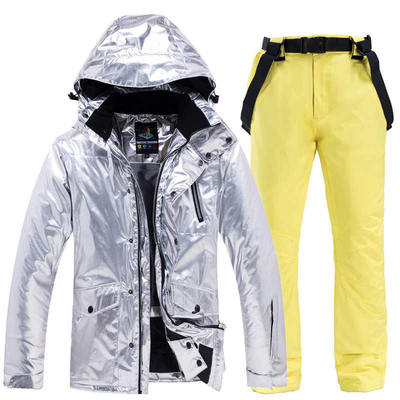 スノーボードセットスキースーツジャケットとパンツ男性女性屋外スキー雪ジャケットスポーツウェア暖かい通気性防水防風