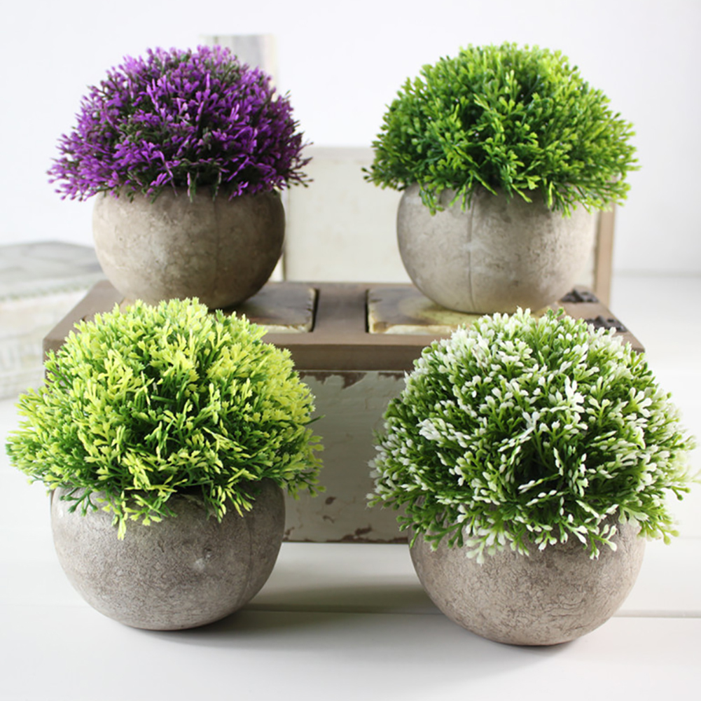 Artificial Plants Vase Set Plastic Plant Bonsai Fake Flower In Pot Wedding Home Garden Office Balcony Landscape Home Decor
