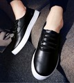 2017 New Man women's Plus Size Loafers Black White Color Driver Shoes For Man Loafers flat-Pu Lace-UP Shoes Man Autumn .DC-209