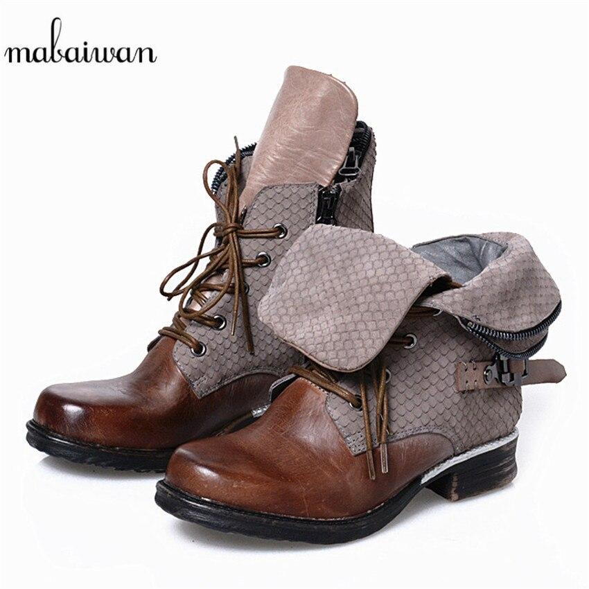 Mabaiwan Fashion Women Chelsea Ankle Boots Vintage Zipper Design Flat Shoes Woman Lace Up Botas