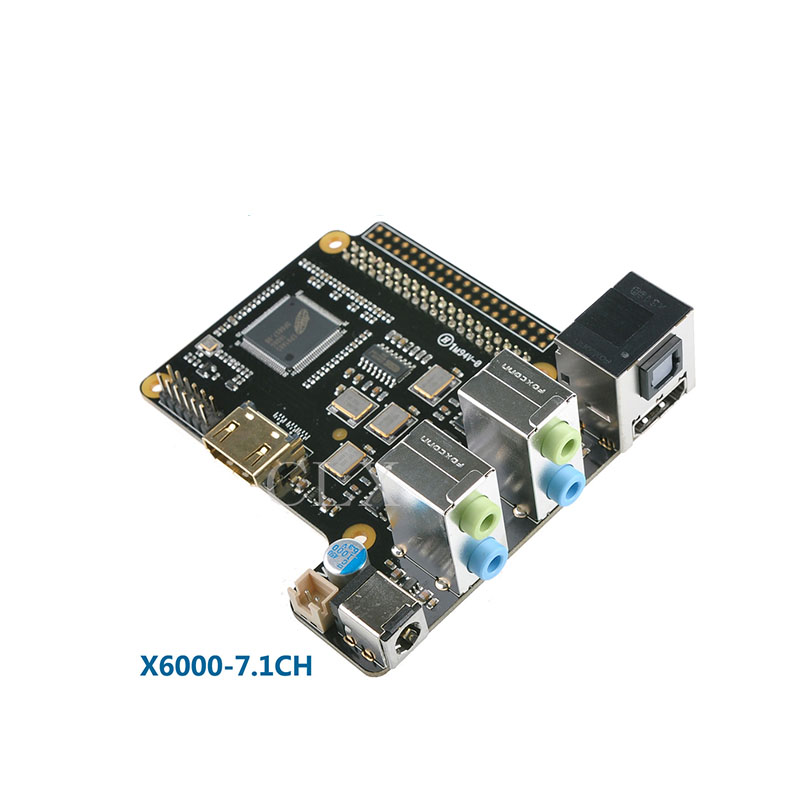 X6000 7.1CH Expansion Board with 5V 4A Power Supply for Raspberry Pi 3 / 2 Model B цена