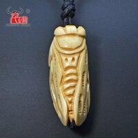 1PC Men S Women S Gift Handmade Carved Yak Bone Necklace Cicada Pendant Adjustable Cord Choker