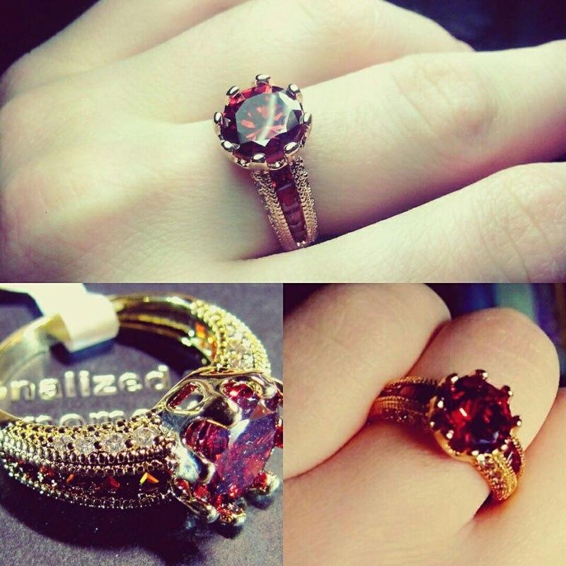 Cincin pertunangan, Cincin zirkonia kubik, Mewah merah perhiasan, - Perhiasan fashion - Foto 3