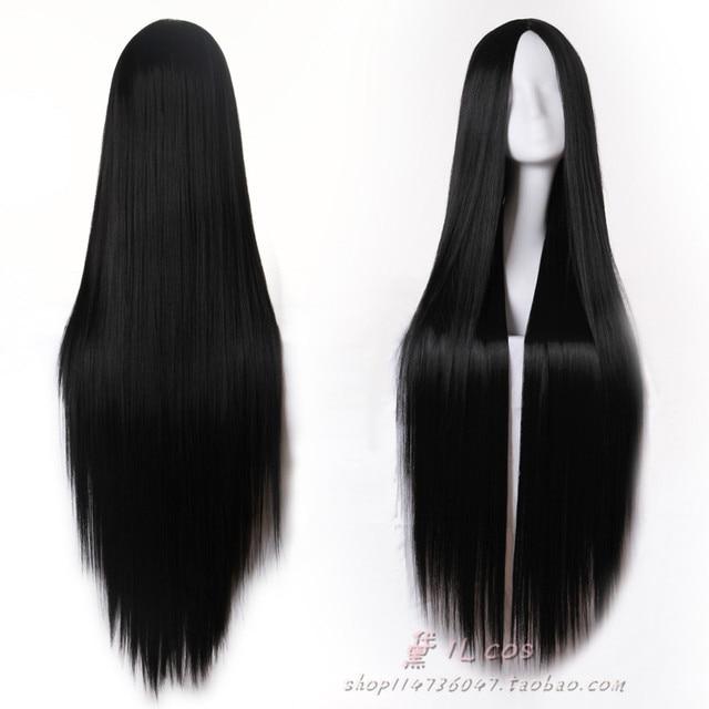 Высокое Качество 80 см/100 см/120 см Длинные Черный Прямой Парик Косплей Парики Без Челки Пробор Парики из натуральных Волос
