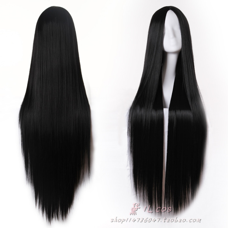 High Quality 80cm 100cm 120cm Long Black Straight Wig Cosplay Wigs No Bangs Middle Parting Natural Hair Wigs On Aliexpress Com Alibaba Group