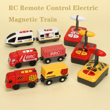 RC Electric Magnetic Train With Carriage Sound and Light Express Truck FIT Wooden Train Track Children Electric Toy Kids Toys