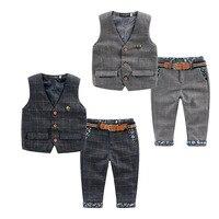2016 Spring New Children Baby Boys Clothes Set Plaid Kids Vest Pants Boy Tuxedo Suit For