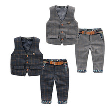 2016 spring new children baby boys clothes set plaid kids vest+pants boy tuxedo suit for webbing child clothing 2-6 year