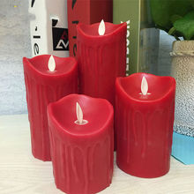 Paraffin red wax flameless led candle,Tear dripping finish candle for wedding event party,hotel.room decoration,night light