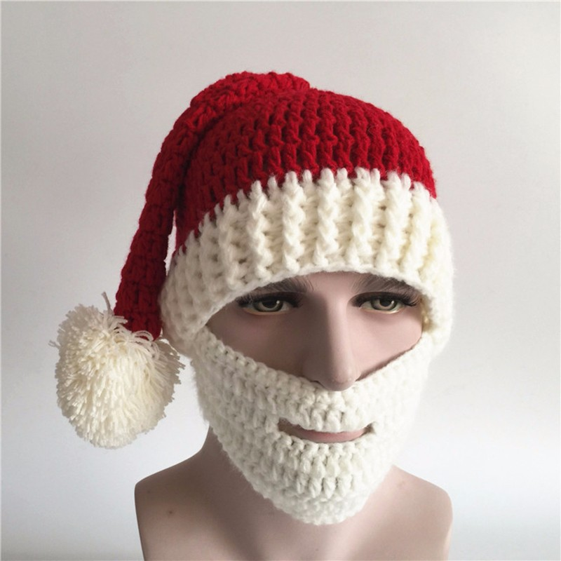 2016 Adult Crochet Knit Beanie Santa Claus Handmade Knitted Hat Hot Fashion Bearded Cap Women Men Christmas Gifts Accessories (11)