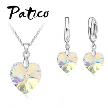 PATICO One Set Austrian Crystal S90 Silver Jewelry Heart Pendant Necklaces Lever Back Earrings Woman Accessories