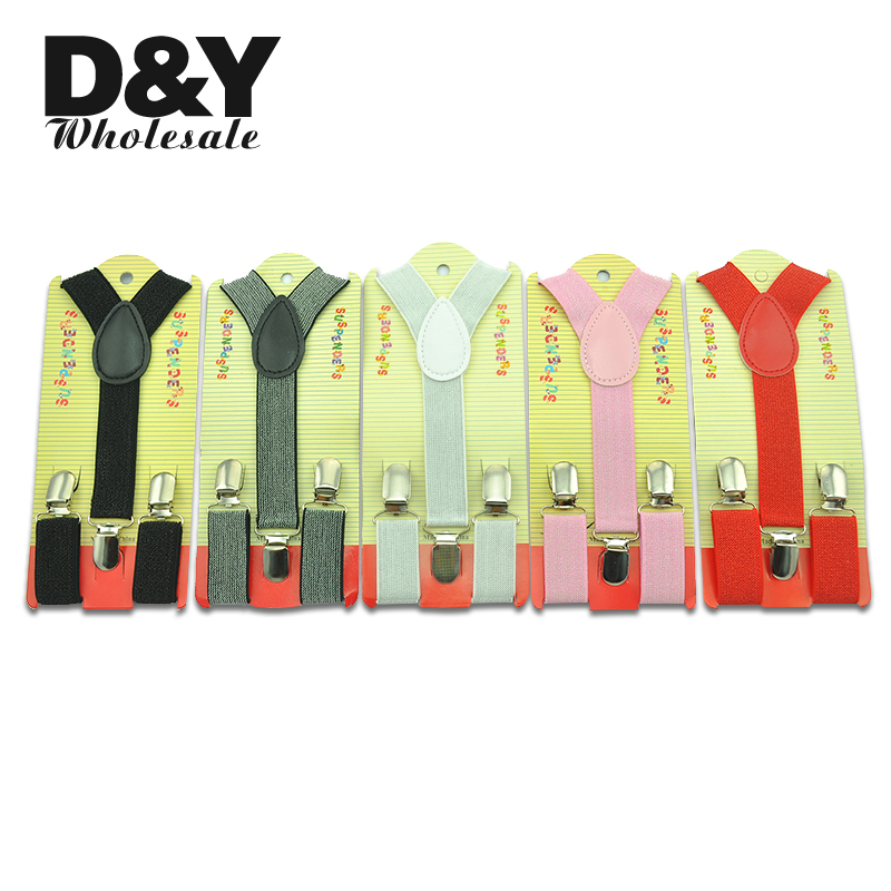 Boys suspenders Girl Kids Children 2.5 cm High Quality Clip-on Braces Elastic Slim Suspender 17 Colors Glitter Y- back Braces
