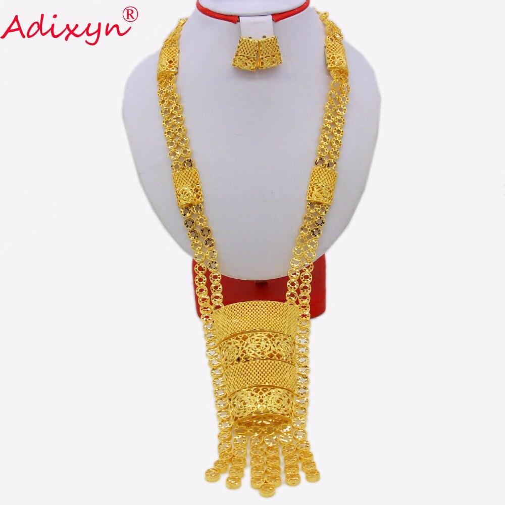 Adixyn 70 cm/28 inch Plus collier/boucles d'oreilles ensembles de bijoux pour femmes couleur or bijoux arabes/éthiopiens cadeaux de mariage de luxe N03168