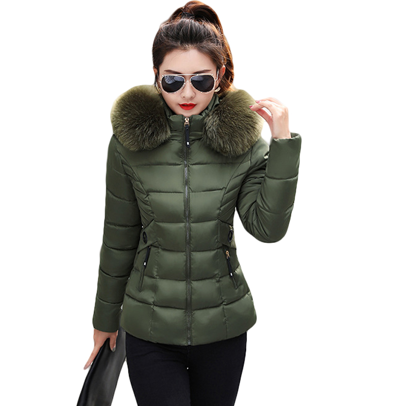 2019New Fashion Autumn Winter Jacket Women Large Faux Fur Collar Hooded Down Cotton Coat Female Short Slim   Parkas   Outerwear D261