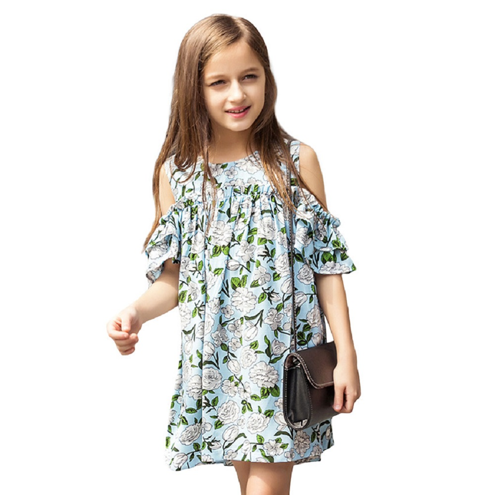 Teen Girls Summer Dress Floral Print Off -shoulder Fashion Chiffon Dress Bohemian Holiday Kids Dress For 9 10 11 12 14 16 Years