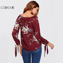 COLROVIE Floral Blouse Wrap Tie Cuff V-Neck Blouse