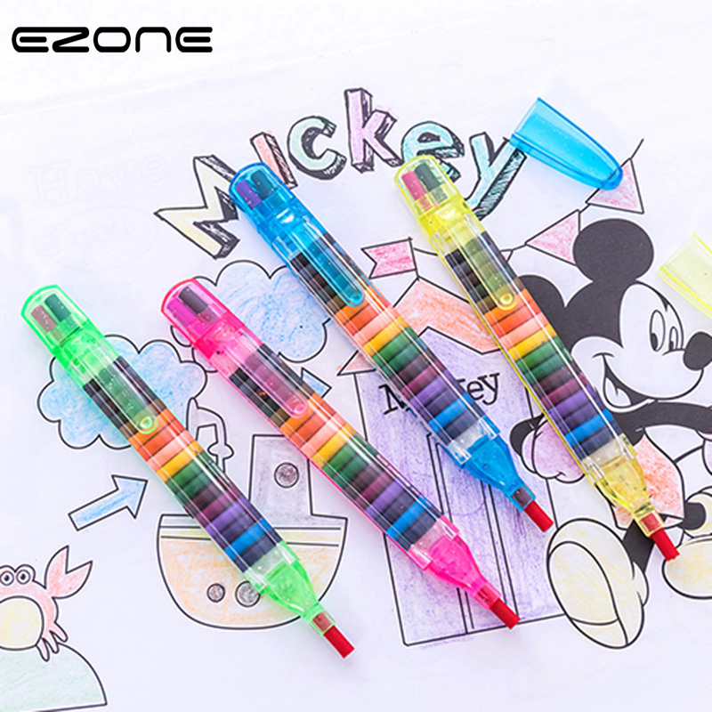 EZONE 20 Colors Wax Crayon Korean Creative Graffiti Kawaii Pens For Kids Painting Drawing Art Supply School Reward Office Supply канцелярские кнопки drawing pin creative office 136