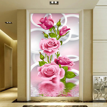 5D DIY Diamond Painting Rose Flowers Diamond Painting Cross Stitch Round Rhinestone Mosaic Unfinished Home Decoration Gift