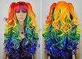 Оптовая DM335> Анимированные многоцветная косплей парики отделить 2 клипа хвост Парики длинное стиля волнистые