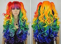 Wholesale DM335> Animated multicolor cosplay wigs separate 2 clip ponytail long wavy style Wigs