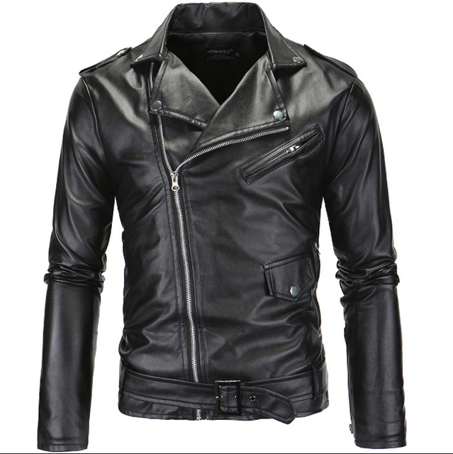Hot 2016 Men's autumn winter brand rock leather jacket, motorcycle jacket, men leather clothes Slim mens leather jacket Coats