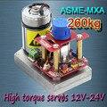 ASME-MXA poder más elevado high torque servo 3600 Grados servo 12 V ~ 24 V 260kg. cm 0.12 s/60 Grados de ángulo grande robot