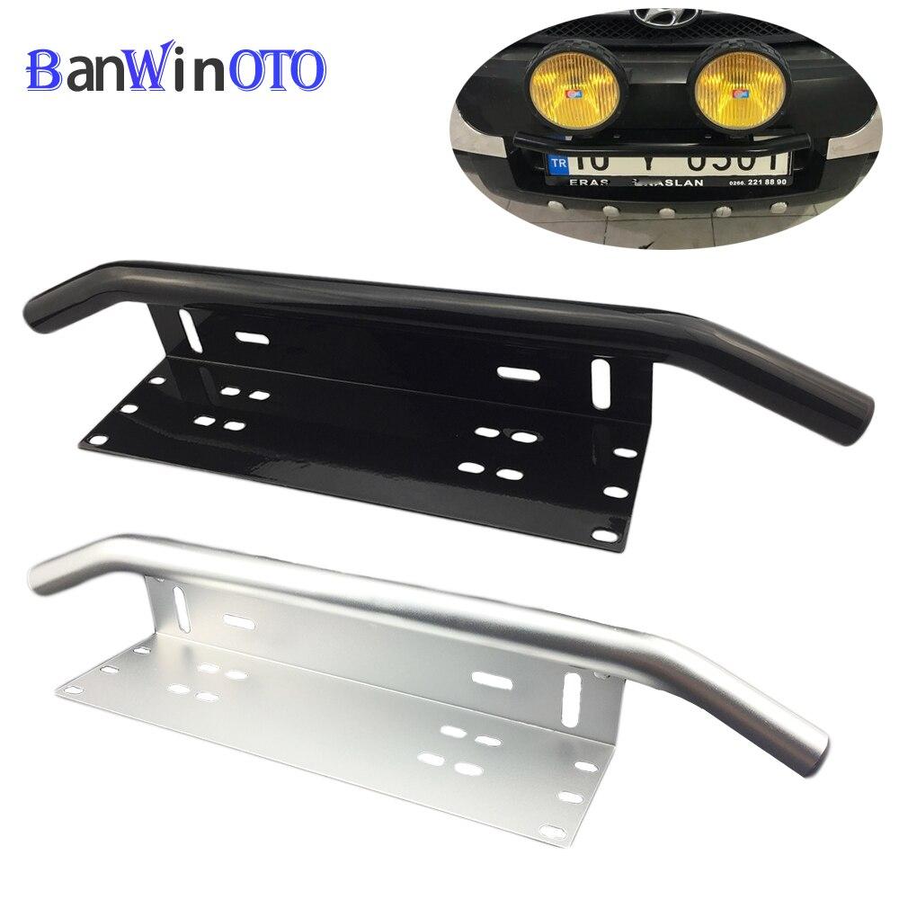 Barra parachoques de matrícula de parachoques delantero Universal, soporte de montaje de luz de registro, soporte de lámpara todoterreno, barra de luz LED de aluminio PZK001