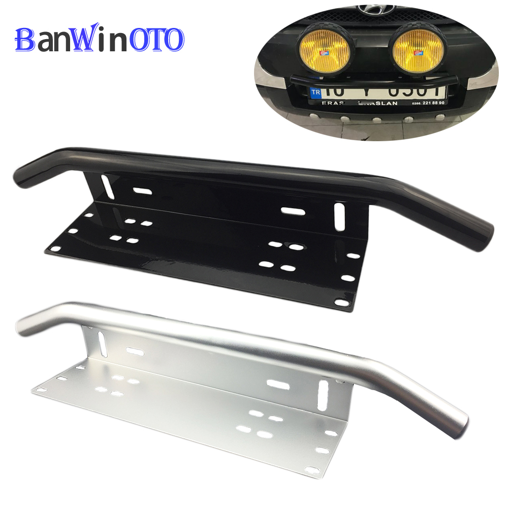 Universal Bull Bar Front Bumper License Plate Log Light Mount Bracket SUV Lamp Holder Off Road LED Light Bar Aluminum PZK001