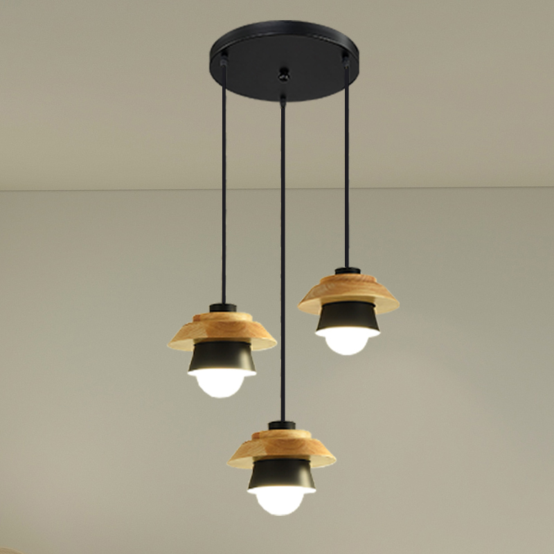 Nordic modern minimalist bedroom small chandelier iron wood bowl hall creative personality Macarons restaurant LED lampNordic modern minimalist bedroom small chandelier iron wood bowl hall creative personality Macarons restaurant LED lamp