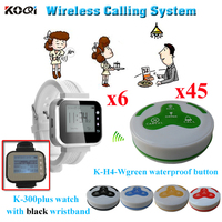 Restaurant Wireless Call System Top Popular Long Range 433.92MHZ Distance ( 6pcs watch pager + 45pcs call bell )