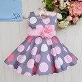 Летом стиль платье девушки дети Горошек Платье Детская Одежда Сарафан Девушка Принцесса Платья с цветком Девушка рукавов торт платье