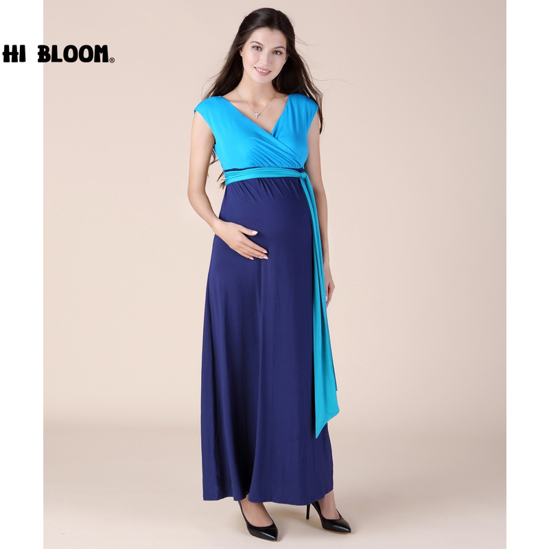 HI BLOOM High Quality Summer S-3XL Tencel Ankle-Length Maternity Dress Pregnancy Clothes Elegant Lady Prom Party Vestidos brand maternity clothes elastic maternity dress nice evening party dress for pregnant women elegant spring lady vestidos
