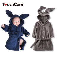 TouchCare Baby Cute Rabbit Ears Velvet Robe Newborn Bathrobe Infant Boys Girls Coral Fleece Pajamas Toddler