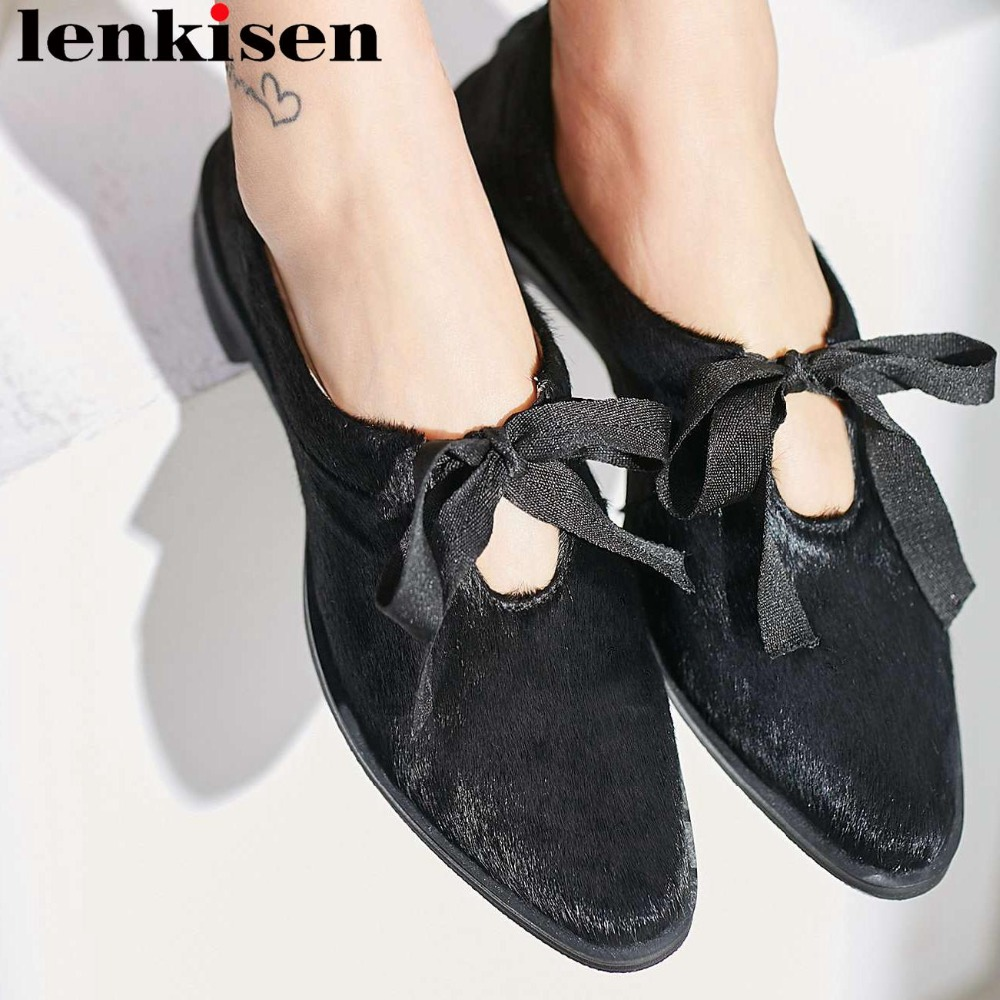 Pumps Low-Heels Daily-Shoes Lace-Up Square Toe Vintage Large-Size Fashion Horsehair Gorgeous