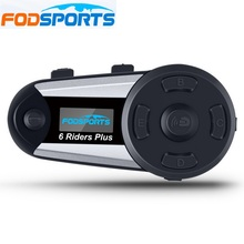 Fodsports V6 Più Il Motociclo Del Citofono del Casco Moto Casco Bluetooth Headset 6 Piloti 1200 M BT Interphone Intercomunicador FM LED