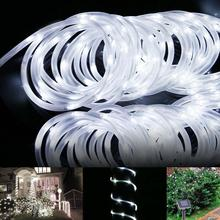 23ft 50LED Solar Power Rope Tube Lights Strip Waterproof Outdoor Garden White Christmas tree lights led light fixtures A609